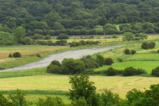 The Arun winds through its valley between Arundel and Burpham