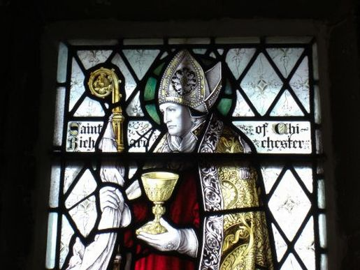 Chichester stained glass detail of St Richard